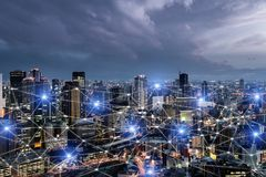 Network business connection system on Osaka smart city scape in background. Network business connection concept royalty free stock photography