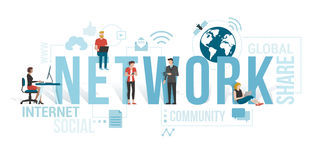 Network. Business people and users connecting to the network using computers and mobile devices: communication technology concept with icons and words Stock Images