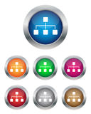 Network buttons. Collection of network buttons in various colors Royalty Free Stock Photos