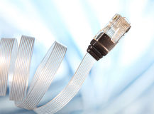 Network cable. On blue and white background Royalty Free Stock Image