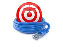 Network cable with bull`s eye Stock Images