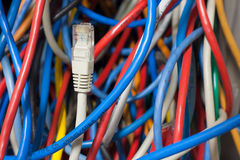 Network cable confusion Stock Photography