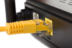 Network cable connected. Into a wireless router Stock Images