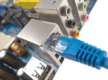 Network cable is connected to computer Royalty Free Stock Photography