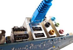 Network cable is connected to computer Stock Images