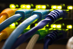 Network cable connected to a hub stock photo