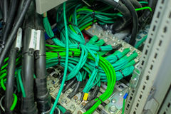 Network cable in control panel Stock Image