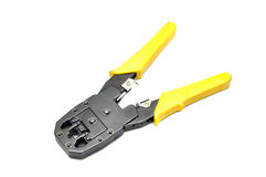 Network cable crimper Stock Photos