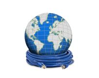 Network cable and globe Royalty Free Stock Photography