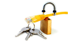 Network Cable, open lock and keys Royalty Free Stock Photos