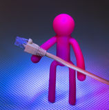 Network cable and Plastic people Stock Images
