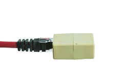 Network cable with RJ45 isolate Stock Image