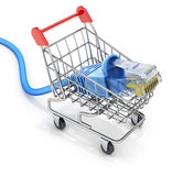 Network cable in the shopping cart Stock Photos