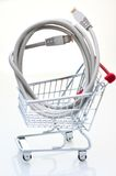 Network cable in a Shopping Cart Royalty Free Stock Photos