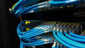 Network cable and switch stock footage