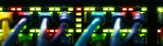 Free Network Cables Connected To A Switch, Banner Stock Photography - 112259362