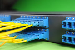 Network cables and hub Stock Photos