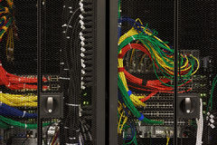 Network cables of a server Royalty Free Stock Image