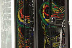 Network cables of a server Stock Photo