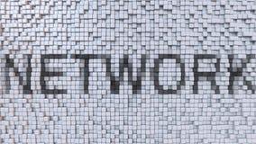 NETWORK caption made of pixels. 3D rendering. NETWORK caption made of pixels. 3D Stock Photos