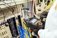 Network card labaratory. Technician working in network card labaratory stock photos