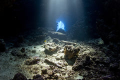 А network of caves -in dive site Umm hararim Stock Photos