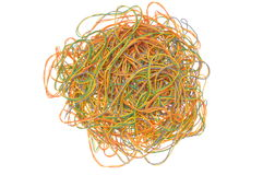 Network chaos of colorful cables. Isolated on white background Stock Photo