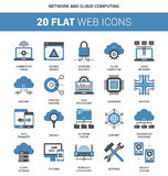 Network and Cloud Computing. Vector set of network and cloud computing flat web icons. Each icon neatly designed on pixel perfect 64X64 size grid. Fully editable Stock Images