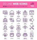 Network and Cloud Technology. Vector set of network and cloud technology line web icons. Each icon with adjustable strokes neatly designed on pixel perfect 64X64 Royalty Free Stock Image