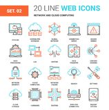 Network and Cloud Technology. Vector set of network and cloud technology line web icons. Each icon with adjustable strokes neatly designed on pixel perfect 64X64 Royalty Free Stock Images