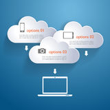 Network clouds with infographic elements and icons Royalty Free Stock Photography