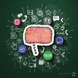 Network collage with icons on blackboard Royalty Free Stock Image
