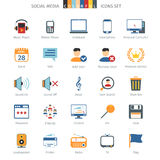 Network Colorful Icons. Social Media And Network Colorful Icons Set Vector Illustration