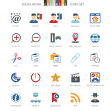 Network Colorful Icons. Social Media And Network Colorful Icons Set Stock Illustration