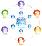 Network Communication. An image showing network communication across the globe Royalty Free Stock Photography