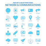 Network and Communication Blue Tone Icon Pack - 25 Icon Sets. This Vector EPS 10 illustration is best for print media, web design, application design user vector illustration