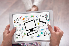 Network communication concept on a tablet royalty free stock photo