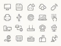 Network Communication and Electronics Line Icons Stock Images