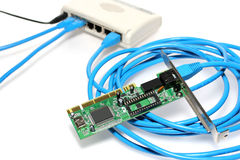 Network components. Router with cable and PCI Lan card Stock Photos
