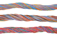 Network computer cables, abstract transmission in telecommunications systems. Isolated on white background Royalty Free Stock Images