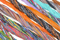 Network computer cables, abstract transmission in telecommunications systems Royalty Free Stock Image