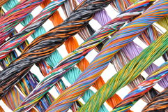 Network computer cables, abstract transmission in telecommunications systems. Isolated on white background Royalty Free Stock Photography