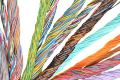 Network computer cables, abstract transmission in telecommunications systems Royalty Free Stock Photo
