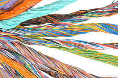 Network computer cables, abstract transmission in telecommunications systems Stock Photos