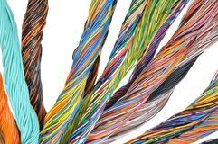 Network computer cables, abstract transmission in telecommunications systems Royalty Free Stock Images