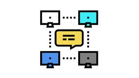 network computer users communication color icon animation