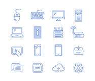 Network computing and mobile devices. Vector linear icons Stock Photos