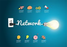 Network concept creative light bulb idea Stock Image