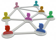 Network Concept - 3D. Communication and people on the network Royalty Free Stock Photo
