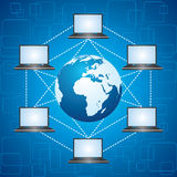Network concept - different laptops around a globe. Stock vector Stock Photo